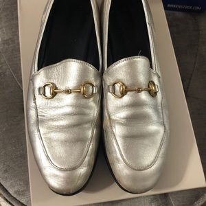 Gucci silver metallic loafers